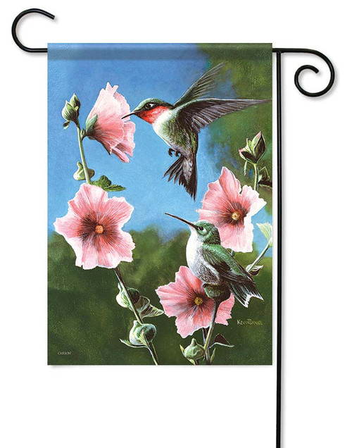 "Pink Blossoms Hummingbirds Garden Flag - 12.5"" x 18"" - Flag Trends - 2 Sided Message"