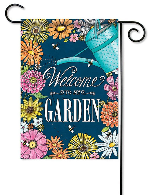 "Welcome To My Garden Garden Flag - 12.5"" x 18"" - Flag Trends - 2 Sided Message"