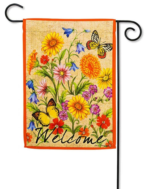 "Wildflowers on Canvas Decorative Garden Flag - 12.5"" x 18"" - 2 Sided Message - Evergreen"