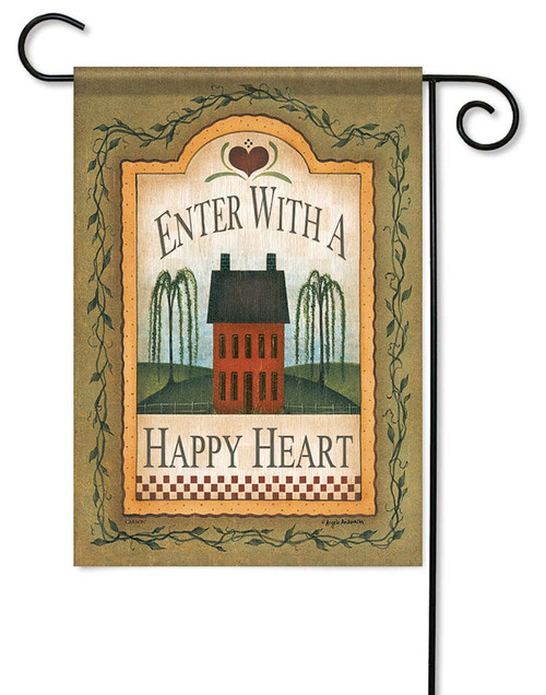 "Happy Heart Garden Flag - 12.5"" x 18"" - Flag Trends - 2 Sided Message"