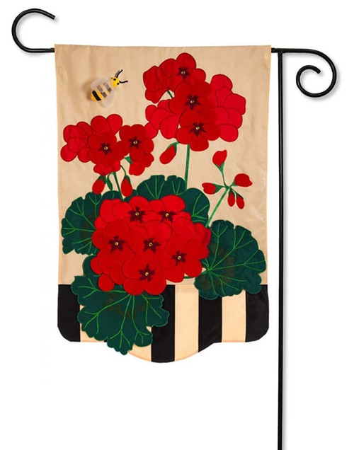 Geraniums Applique Garden Flag
