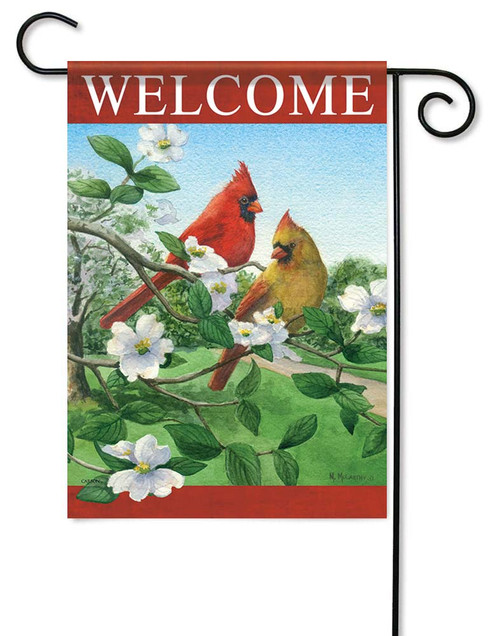 "Cardinals On Dogwood Garden Flag - 12.5"" x 18"" - Flag Trends - 2 Sided Message"