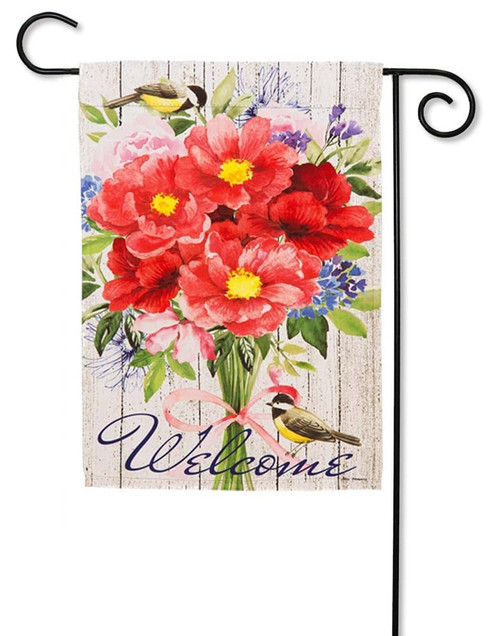 "Peonies Bouquet Decorative Garden Flag - 12.5"" x 18"" - 2 Sided Message - Evergreen"