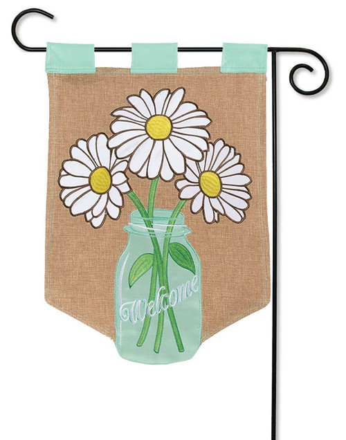 Flower Jar Burlap Garden Flag