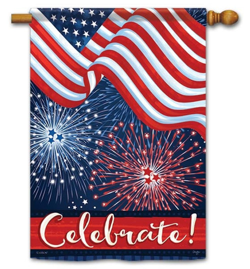 "Flag & Fireworks House Flag - 28"" x 40"" - Flag Trends - 2 Sided Message"