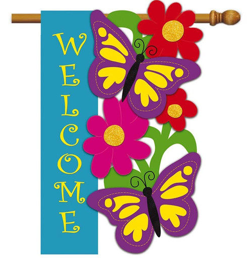 "Butterfly Welcome Applique House Flag - 28"" x 44"" - 2 Sided Message - Evergreen"