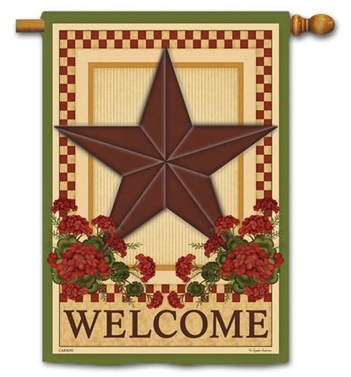 "Barn Star Geraniums House Flag - 28"" x 40"" - Flag Trends - 2 Sided Message"