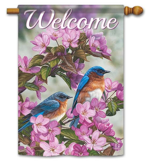 """Birds In Blue House Flag - 28"""" x 40"""" - Flag Trends - 2 Sided Message"""