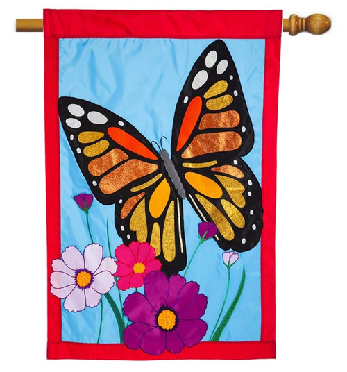 "Butterfly Applique House Flag - 28"" x 44"" - Evergreen"