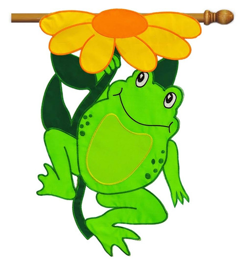 "Happy Frog Applique House Flag - 28"" x 44"" - Evergreen"