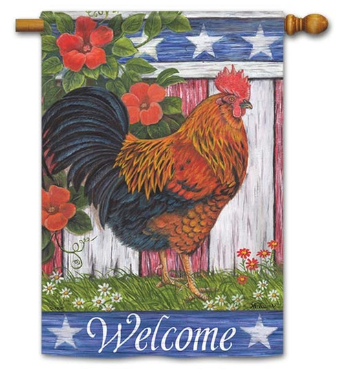 Patriotic Rooster House Flag