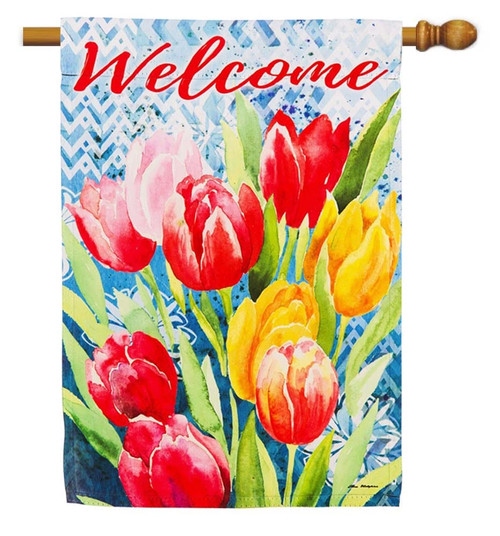 "Bright Tulips Decorative House Flag - 29"" x 43"" - 2 Sided Message - Evergreen"