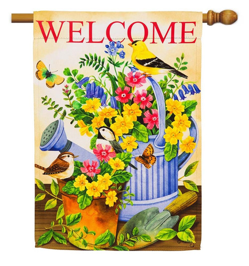 "Blue Watering Can & Birds House Flag - 29"" x 43"" - 2 Sided Message - Evergreen"