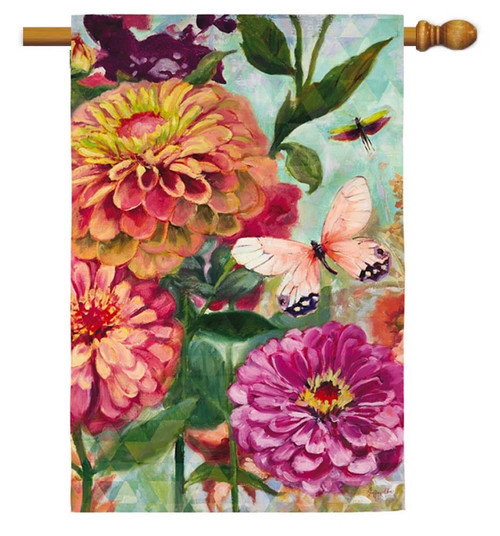 Zinnia Garden Decorative House Flag