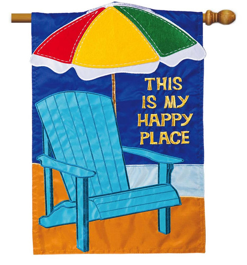 "Summer Adirondack Applique House Flag - 28"" x 44"" - 2 Sided Message - Evergreen"
