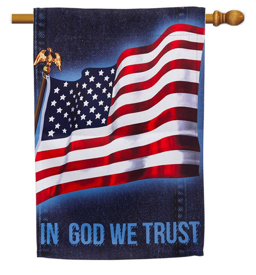 """Flag with Denim Decorative House Flag - 29"""" x 43"""" - 2 Sided Message - Evergreen"""
