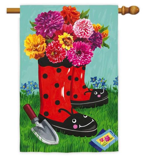 "Garden Boots Decorative House Flag - 29"" x 43"" - Evergreen"