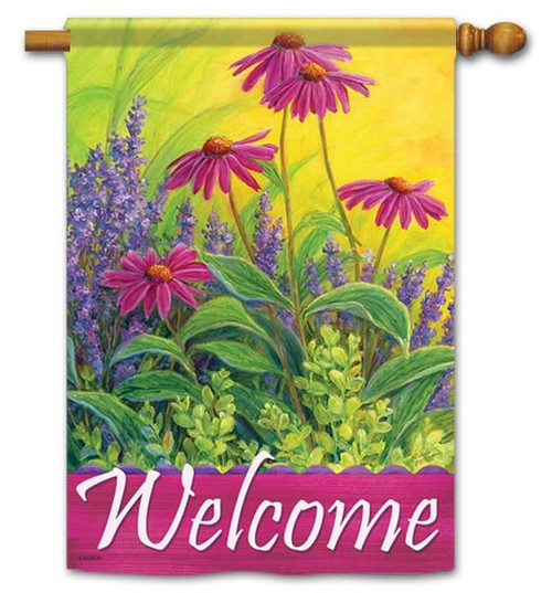"""Lavendar & Echinacea House Flag - 28"""" x 40"""" - Flag Trends - 2 Sided Message"""
