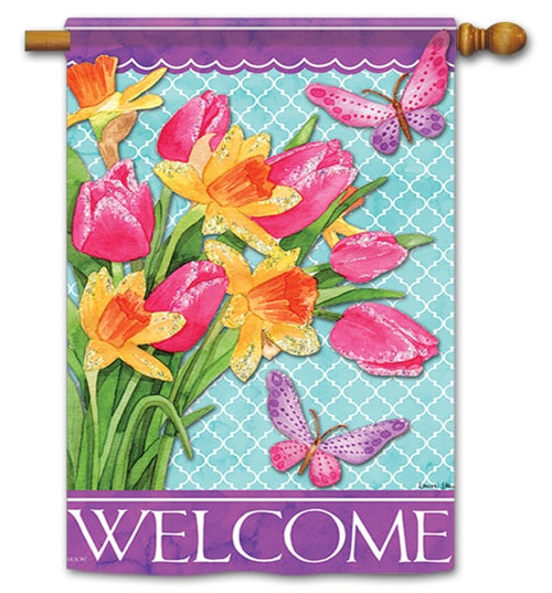"""Pink Tulips House Flag - 28"""" x 40"""" - Flag Trends - 2 Sided Message"""