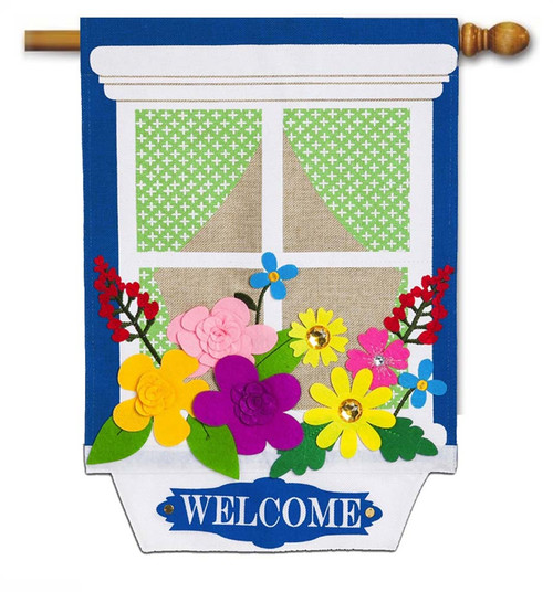 "Window Box Garden Burlap House Flag - 28"" x 44"" - 2 Sided Message - Evergreen"
