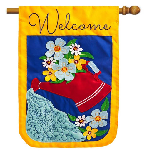 "Wateringcan & Flower Applique House Flag - 28"" x 44"" - 2 Sided Message - Evergreen"