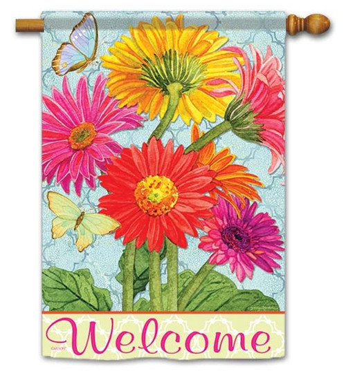 """Gerbera Blooms House Flag - 28"""" x 40"""" - Flag Trends - 2 Sided Message"""