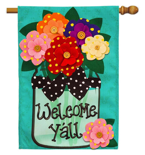 "Welcome Y'all Polka Dot Flowers Burlap House Flag - 28"" x 44"" - 2 Sided Message - Evergreen"