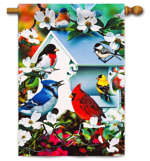 "Backyard Birds Decorative House Flag - 29"" x 43"" - Evergreen"