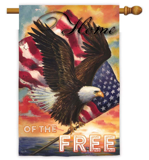 "Star Spangled Eagle Decorative House Flag - 29"" x 43"" - 2 Sided Message - Evergreen"