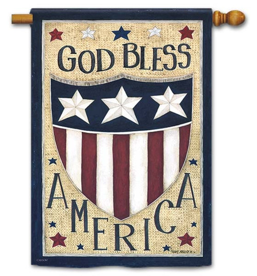 "God Bless America House Flag - 28"" x 40"" - Flag Trends - 2 Sided Message"