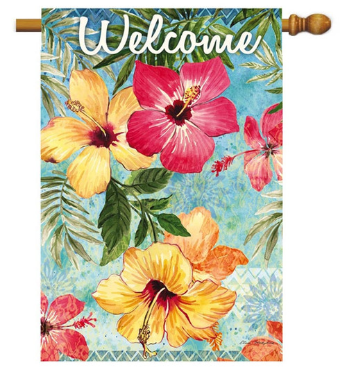 """Watercolor Hibiscus Decorative House Flag - 29"""" x 43"""" - 2 Sided Message - Evergreen"""