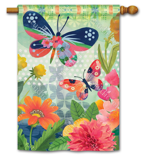 "Butterflies in Flight Summer House Flag - 28"" x 40"" - BreezeArt"