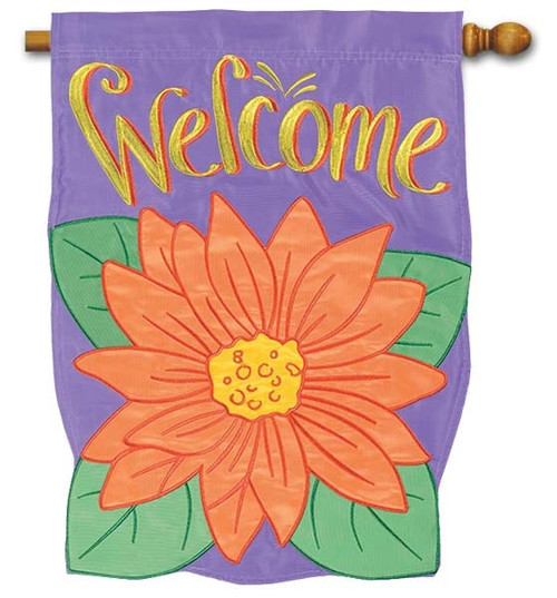 "Gerbera Bloom Applique House Flag - 28"" x 40"" - Flag Trends - 2 Sided Message"