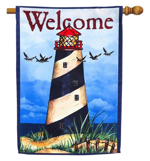 "Lighthouse Americana Decorative House Flag - 29"" x 43"" - 2 Sided Message - Evergreen"