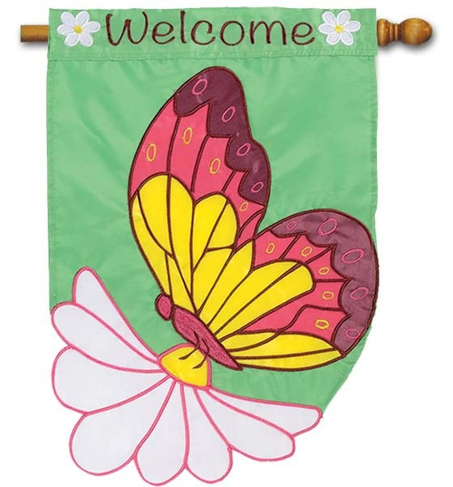 "Daisy Butterfly Applique House Flag - 28"" x 40"" - Flag Trends - 2 Sided Message"