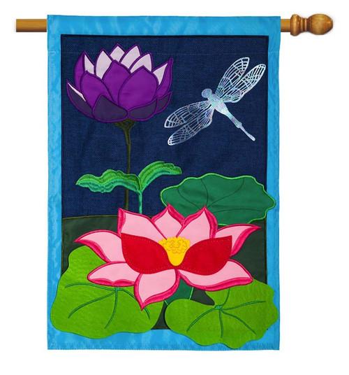 "Dragonfly Pond Burlap House Flag - 28"" x 44"" - Evergreen"
