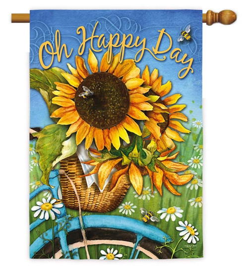 """Happy Day Sunflowers Decorative House Flag - 29"""" x 43"""" - 2 Sided Message - Evergreen"""