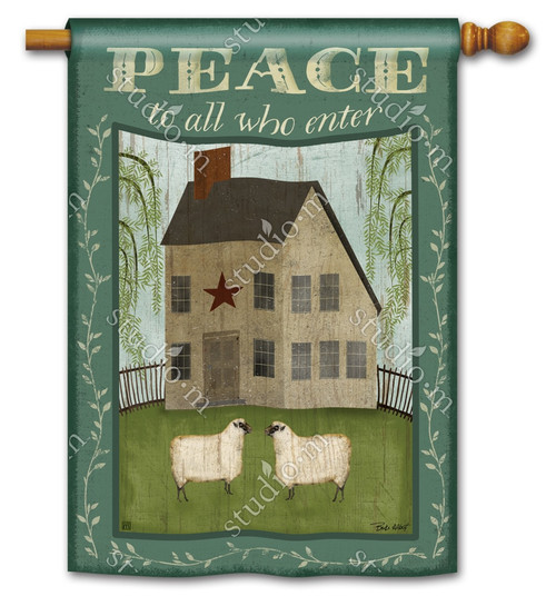 "Peace to All Summer House Flag - 28"" x 40"" - 2 Sided Message - BreezeArt"