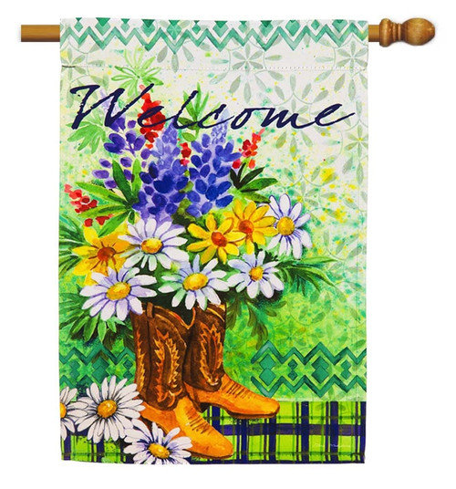 """Summer Floral in Boots Decorative House Flag - 29"""" x 43"""" - 2 Sided Message - Evergreen"""
