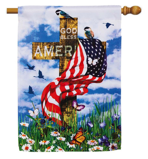 "The Patriots Decorative House Flag - 29"" x 43"" - 2 Sided Message - Evergreen"