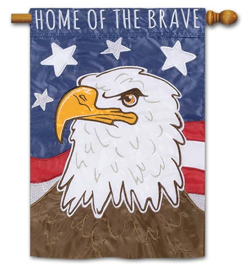 "Home of the Brave Applique House Flag - 28"" x 40"" - Flag Trends - 2 Sided Message"