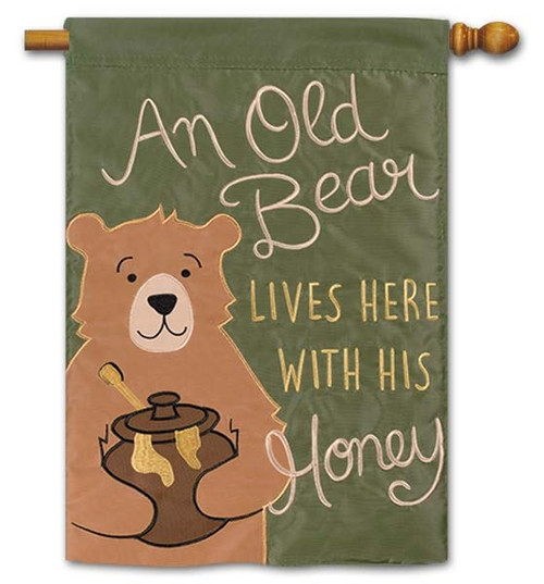 "Old Bear Applique House Flag - 28"" x 40"" - Flag Trends - 2 Sided Message"