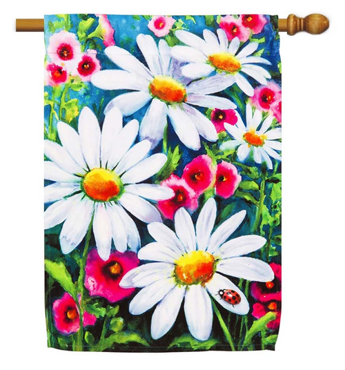 "Big Daisies Decorative House Flag - 29"" x 43"" - Evergreen"