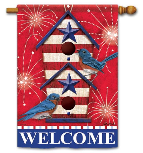 "Bluebird Fireworks House Flag - 28"" x 40"" - Flag Trends - 2 Sided Message"