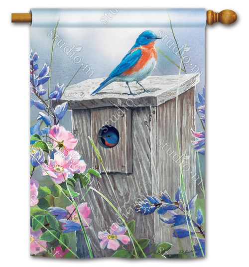 "Bluebird Lookout Summer House Flag - 28"" x 40"" - BreezeArt"