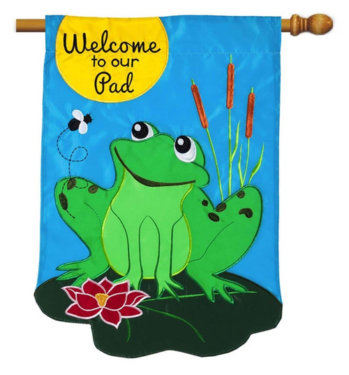 "Welcome to our Pad Applique House Flag - 28"" x 44"" - 2 Sided Message - Evergreen"