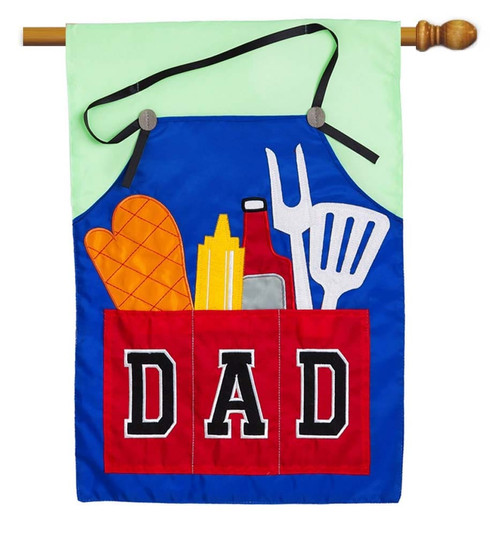 "Dad's Grill Tools Applique House Flag - 28"" x 44"" - 2 Sided Message - Evergreen"
