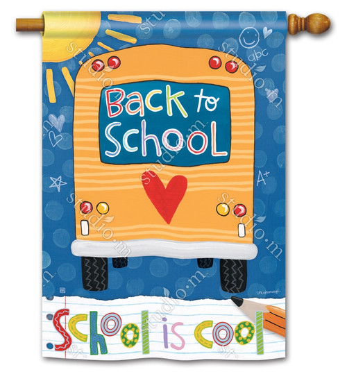 "School is Cool Decorative House Flag - 28"" x 40"" - 2 Sided Message - BreezeArt"