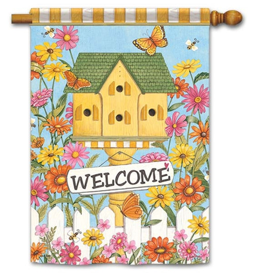 """Country Birdhouse House Flag - 28"""" x 40"""" - Flag Trends - 2 Sided Message"""