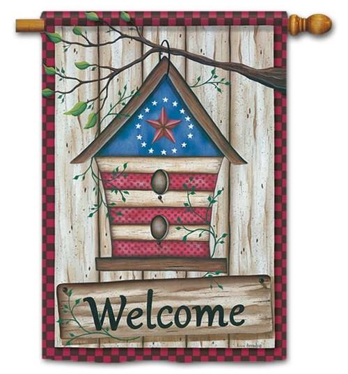 """Barn Star Birdhouse House Flag - 28"""" x 40"""" - Flag Trends - 2 Sided Message"""